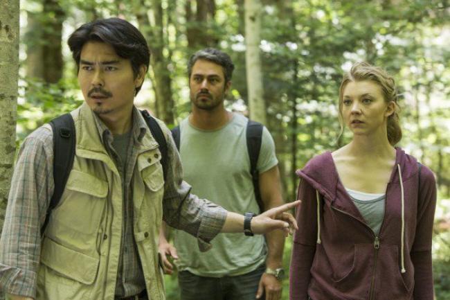 Yukiyoshi Ozawa, Taylor Kinney and Natalie Dormer in The Forest.