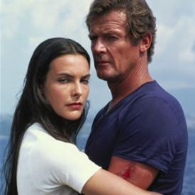 Carole Bouquet and Roger Moore in For Your Eyes Only.
