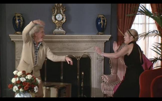 Burgess Meredith and Rachel Roberts in Foul Play.