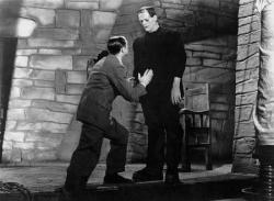 Colin Clive as Doctor Frankenstein and Boris Karloff as his creation in Frankenstein. Which one is the true monster?