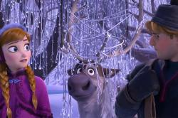Kristen Bell voices Anna with Jonathan Groff as Kristoff in Frozen.