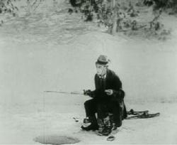 Buster Keaton ice fishes in The Frozen North.