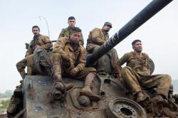 Shia LaBeouf, Logan Lerman, Brad Pitt, Michael Pena and Jon Bernthal in Fury.