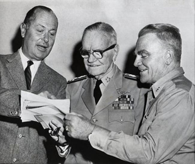 Director Robert Montgomery and star James Cagney with the real Admiral Halsey.