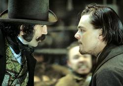 Daniel Day-Lewis and Leonardo DiCaprio in Gangs of New York.