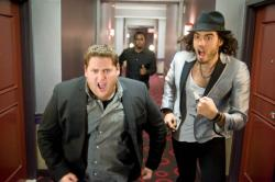 Sean Combs tries to get Jonah Hill and Russell Brand to the Greek.