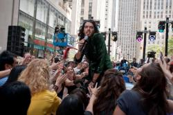 The charismatic Russell Brand makes a believable burned-out rock star.