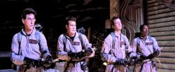 Harold Ramis, Dan Aykroyd, Bill Murray, and Ernie Hudson in Ghostbusters.