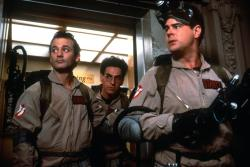 Bill Murray, Harold Ramis and Dan Aykroyd in Ghostbusters.
