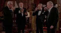 Douglas Fairbanks Jr., John Houseman, Fred Astaire and  Melvyn Douglas share a toast in Ghost Story.