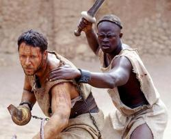 Russell Crowe and Djimon Hounsou in Gladiator.