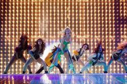 Heather Morris as Brittany in Glee: The 3D Concert Movie.