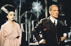 Rosalind Ayres plays  Elsa Lanchester as Frankenstein's bride with Ian McKellen as James Whale in Gods and Monsters.