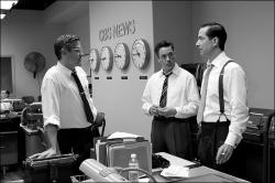 George Clooney, Robert Downey Jr., and David Strathairn in Good Night, and Good Luck.