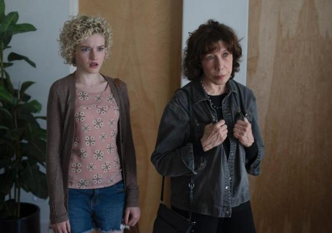 Julia Garner and Lily Tomlin in Grandma.