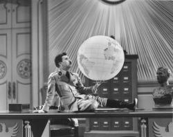 Charlie Chaplin creating movie magic in The Great Dictator.