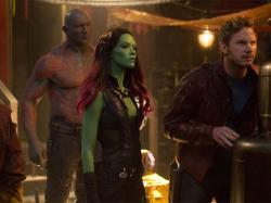 Dave Bautista, Zoe Saldana and Chris Pratt in Guardians of the Galaxy