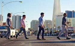 Zach Galifianakis, Ed Helms, Justin Bartha and Bradley Cooper in The Hangover III.