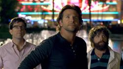 Ed Helms, Bradley Cooper, and Zach Galifianakis in The Hangover Part III.