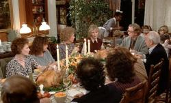 The family gathers for Thanksgiving dinner in Hannah and Her Sisters.