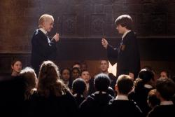 Tom Felton and Daniel Radcliffe in Harry Potter and the Chamber of Secrets.