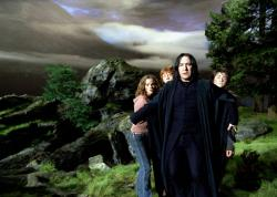 Emma Watson, Rupert Grint, Alan Rickman and Daniel Radcliffe in Harry Potter and the Prisoner of Azkaban.