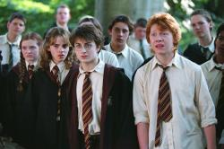 Emma Watson, Daniel Radcliffe and Rupert Grint in Harry Potter and the Prisoner of Azkaban.
