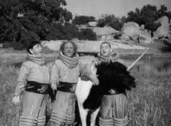 The Three Stooges and an alien unicorn in Have Rocket...Will Travel