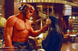 Ron Perlman and Selma Blair in Hellboy.