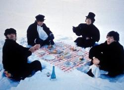 Ringo Starr, John Lennon, George Harrison and Paul McCartney get the munchies during the filming of Help! in the alps.