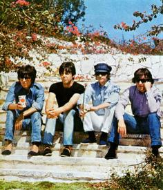 George, Paul, Ringo and John in the Bahamas for a scene in Help!