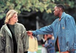 Kristy Swanson and Omar Epps in Higher Learning.