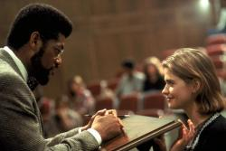 Laurence Fishburne and Kristy Swanson in Higher Learning