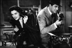 Rosalind Russell and Cary Grant in His Girl Friday.