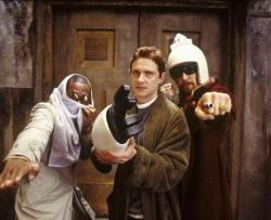 Mos Def, Martin Freeman and Sam Rockwell in The Hitchhiker's Guide to the Galaxy.