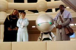 Sam Rockwell, Zooey Deschanel, Marvin the Paranoid Android and Mos Def in The Hitchhiker's Guide to the Galaxy.