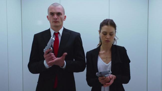Rupert Friend and Hannah Ware in Hitman: Agent 47.