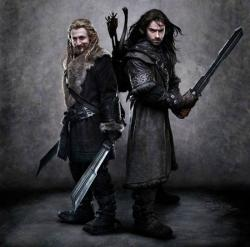 Dean O'Gorman and Aidan Turner as Fili and Kili