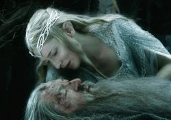The only two actors to appear in all six Peter Jackson Middle-earth movies, Cate Blanchett and Ian McKellen in The Hobbit: The Battle of the Five Armies.