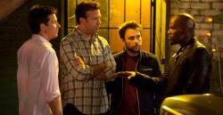 Jason Bateman, Jason Sudeikis, Charlie Day and Jamie Foxx in Horrible Bosses 2.