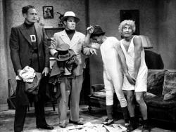 Harpo steals the movie, shown here with Chico, Nat Pendleton and James Pierce.