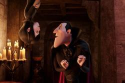 Mavis (Selena Gomez) and Dracula (Adam Sandler) in Hotel Transylvania.