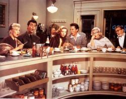 Betty Grable, Rory Calhoun, Lauren Bacall, Cameron Mitchell, Marilyn Monroe and David Wayne in How to Marry a Millionaire.