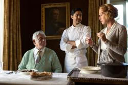 Om Puri, Manish Dayal, and Helen Mirren in The Hundred-Foot Journey.