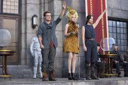 Josh Hutcherson, Elizabeth Banks, and Jennifer Lawrence in The Hunger Games: Catching Fire.
