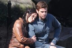 Jennifer Lawrence and Liam Hemsworth in The Hunger Games: Mockingjay - Part 1