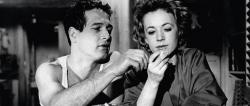 Paul Newman and Piper Laurie in The Hustler.