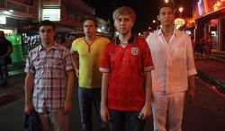 Simon Bird, Joe Thomas, James Buckley and Blake Harrison in The Inbetweeners Movies.