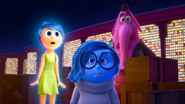 Joy (Amy Poehler), Sadness (Phyllis Smith), and Bing Bong (Richard Kind) in Inside Out.