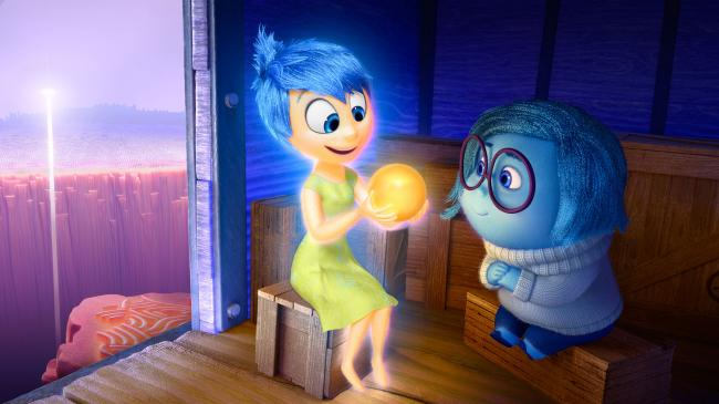 Joy and Sadness riding the train of thought in Inside Out